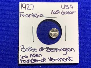 "Franklin Mint 1927 USA Half Dollar ""Battle of Bennington"" Mini Coin."