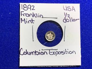 "Franklin Mint 1892 USA Half Dollar ""Columbian Exposition"" Mini Coin."