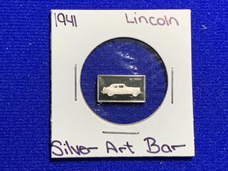 "Sterling Silver Art Bar ""1941 Lincoln""."