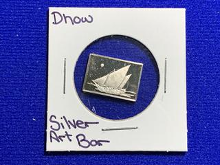 """Sterling Silver Art Bar """"Dhow""""."""