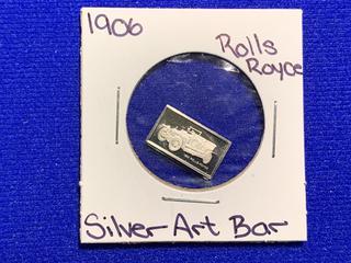 """Sterling Silver Art Bar """"1906 Rolls Royce""""."""