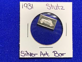 """Sterling Silver Art Bar """"1931 Stutz""""."""