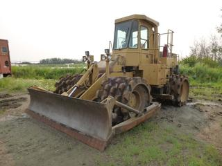 1984 CAT 815B Padfoot Compactor c/w 7,414 Hours, Cab, Heater, Aux Hyd, 12 Ft. Blade, SN 17Z00261 *Note: No Brakes, Runs In Reverse Only (Transmission Issues)*