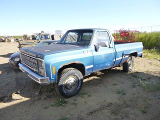 1980 Chevrolet Custom Deluxe Regular Cab 4X4 c/w 87,821 Kms, Manual Hub, LT235/85R16 Tires, 8 Ft. Box, VIN CCT24A1168556 *Note: No Battery, Engine Turns Over, No Start, Active AB Registration Provided*