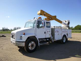 2000 Freightliner FL70 Bucket Truck c/w CAT Diesel, A/T, Showing 412,550 Kms, GVWR 35,000 Lb, 178 In. W/B, PTO, Beacons, Storage Cabinet, 11R22.5 Tires, Front Axle Rating 12,000 Lb, Rear Axle Rating 23,000 Lb, VIN 1FV6HJBB6YHB64400 w/ 1994 Versalift VST4000 Articulating Boom, 350 Lb Capacity, 40 Ft. Platform Height, Outriggers, SN Y94159 *Note: Hood Damaged and Rust*