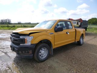 2019 Ford F-150 XL Extended Cab 4X4 Pick Up c/w 2.7L, A/T, A/C, Showing 24,984 Kms, 265/70R17 Tires at 60%, Rears at 40%, Whelen Brake Control System, 6 Ft. 5 In. Box, VIN 1FTEX1EP2KKE71023 *Note: Non-Repairable, Engine Light On, Missing Rear Window, Major Damage To Body, Flat Tire, Runs Rough, Drives But Not Recommended*