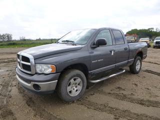 2003 Dodge Ram 1500 Crew Cab 4X4 Pick Up c/w 4.7L Magnum, A/T, A/C, Showing 287,293 Kms, P265/70R17 Tires, 6 Ft. 2 In. Box, VIN 1D7HA18D13S270639 *Note: Engine Light On, Damage, Major Rust*