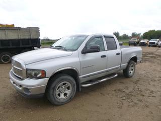 2002 Dodge Ram 1500 SLT Crew Cab Pick Up c/w 5.9L, A/T, A/C, Showing 247,092 Kms, P265/70R17 Tires at 20%, Rears at 10%, Accutrac Brake Control System, 6 Ft. 2 In. Box, VIN 1D7HA18Z62S617294 *Note: Requires Hood Hydraulics*