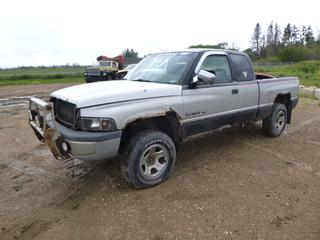 1997 Dodge Ram 1500 Extended Cab 4X4 Pick Up c/w 5.9L V8 Magnum, A/T, Showing 447,126 Kms, LT245/75R17 Tires at 10%, 6 Ft. 5 In. Box, VIN 1B7HF13Z8VJ592721 *Note: Contents Included, Damage, Major Rust*