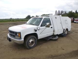 1995 Chevrolet Street Sweeper c/w 7.4L, A/T, A/C,  Showing 210,149 Miles, PTO,  LT225/75R16 Tires at 80%, Rears at 30%, VIN 1GBJC34N0SE249816 w/ Wisconsin Engine, Model V4HD1, Showing 1,394 Hours, SN 96010295 *Note: Previously Used at Castrol Raceway, Service Engine Soon Message*