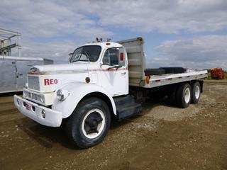 Reo  T/A Flat Deck Truck, 17 Ft. Deck, Double Frame, C/w V8 Gas Engine, 5 Speed Manual, Showing 54,262 Miles, 214 In. W/B, 10.00-20 Tires at 0% *Note: Running Condition Unknown, No VIN, Passenger Door Does Not Close*