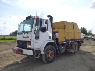 1997 Ford Cargo Street Sweeper c/w 5.9L Cummins, Diesel, A/T, Showing 86,850 Kms, Dual Steer, 11R22.5 Tires at 40%, Dually Rears at 30%, 130 In. W/B w/ Sweeprite 3300 Sweeper, John Deere Engine, Showing 5,191 Hours, CVIP 04/2021, VIN 1FDXH81C8VVA00445