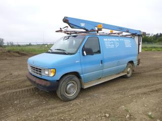 1992 Ford Econoline 350 Bucket Van c/w 5.8L EFI, A/T, A/C, Showing 213464 Kms, Beacons, LT245/75R16 Tires at 10%, VIN 1FTJE34H0NHB15262 w/ 1992 Versalift VT28B, Lift Hour Meter 678 Hours, 300 Lb. Capacity, Last Inspected June 2009, SN 119236 *Note: Rear ABS Light On, Minor Rust*