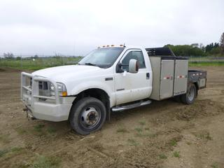 2004 Ford F-550 Flat Deck Truck c/w Power Stroke V8, Diesel, Manual, A/C, Manual Hub, PTO, 5th Wheel, Fifth Wheel Hitch, Storage Cabinet, GVWR 17,500 Lb, 225/70R19 Tires at 10%, Front Axle Rating 6,000 lb, Rear Axle Rating 13,500 Lb, VIN 1FDAF57P84ED92720 *Note: Does Not Run*