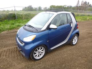 2008 Smart Fortwo Passion Convertible c/w 1.0L L3 DOHC, A/T, A/C, Showing 130,181 Kms, 155/60R15 Tires at 60%, Rears at 40%, VIN WMEEK31X78K066513