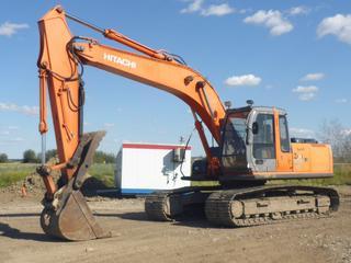 2002 Hitachi ZX200LC Excavator c/w Isuzu Diesel, 150 HP, Showing 11,291 Hours, Cab, A/C, Heater, Joystick, 36 In. Digging Bucket, 31.5 In. TBG, Undercarriage 75%, 114 In. Stick Thumb, Aux Hyd, SN ARH310035