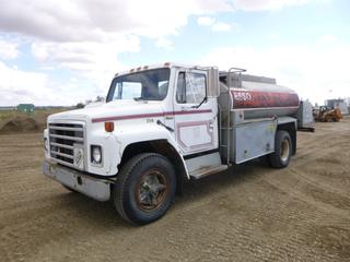 1982 International S1700 Fuel Truck c/w Manual Transmission, Showing 190,998 Kms, A/C, 218 In. W/B, 9.00-20 Tires, Dually, 4 Compartment Tank, VIN 1HTAA17B2CHB12504