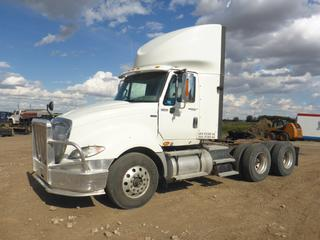 2013 International Eagle Prostar T/A Truck Tractor c/w Maxxforce 450 HP Diesel, 18 Speed Manual, Showing 641,967 Kms, 181 In. W/B, 11R22.5 Tires at 80%, Front Axle Rating 12,350 Lb, Rear Axle Rating 40,000 Lb, Day Cab, Aluminum Buds, Sliding 5th Wheel, Aluminum Moose Bumper, CVIP 04/2022, VIN 1HSDJSJR0DH295896 *Note: Hole In Left Side Fender*