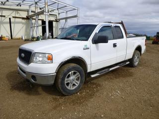 2007 Ford F-150 XLT Extended Cab Pick Up c/w 5.4L Triton, A/T, A/C, Showing 253,821 Kms, Headache Rack, LT265/70R17 Tires at 30%, 6 Ft. 6 In. Box, VIN 1FTPX14547FA20782 *Note: Engine Knock, Hood Does Not Release, Tailgate Does Not Close, Passenger Mirror Missing*