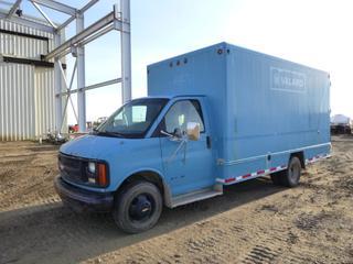 2001 Chevrolet Express 3500 Cube Van c/w Diesel, 15 Ft. Van Body, GVWR 5,443 KG, LT225/75R16 Tires at 40%, Dually Rears, Rear Shelving, Walk Through, VIN 1GBJG31F411207253 *Note: Starter Requires Repair, Does Not Run*