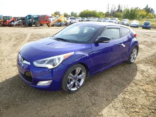 2013 Hyundai Veloster c/w 1.6L, A/T, A/C, Showing 87,871 Kms, Power Sunroof, 215/40R18 Tires at 10%, VIN KMHTC6AD2DU090576 *Note: Scratches On Hood*