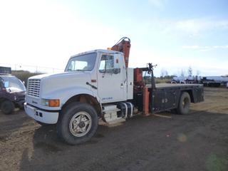 1990 International 4000 Series Picker Truck c/w Diesel, Manual Transmission, Showing 376,067 Kms, 206 In. W/B, 11R22.5 Tires, 14 Ft. 6 In. Deck w/ 1988 Atlas Crane Articulating Crane, Model AK8003, Showing 5,806 Hours, 3900 KG Capacity, Air Compressor, SN 11985, CVIP 08/2021, VIN 1HTSCCFP3LH679602
