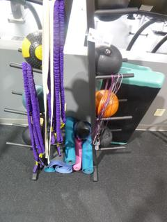8-Tier Rack C/w Medicine Balls, (2) Steppers, Mats And Skipping Rope