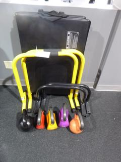 Qty Of (4) Strengthing Bars C/w (1) 8kg, (1) 12kg, (2) 16kg And (1) 20kg Kettlebell Weights