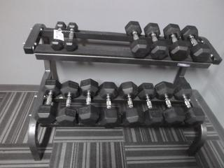 Weight Rack C/w 5lb-50lb Weights *Note: Missing 10 And 15lb Weights*