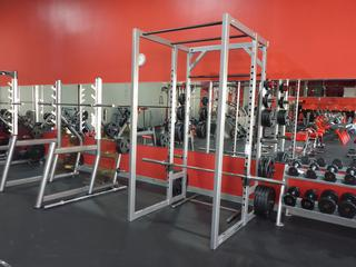 Cybex Model 5420-90 Squat Rack C/w Assorted Size Weights And Bar