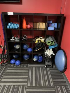 16-Compartment Storage Unit C/w Weights, Mats And Misc Exercise Equipment