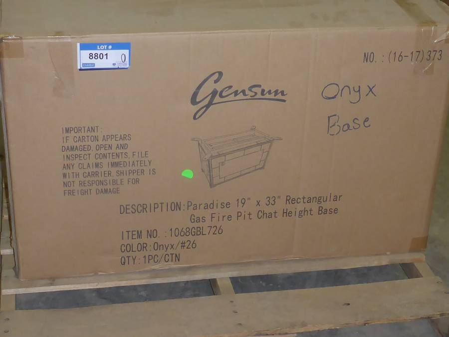 Unused 2020 Gensun Propane Fire Pit Base, Model Paradise, Chat Height, 19 In. x 33 In. Onyx Colour (In Box) #1068GBL726 (Y2)
