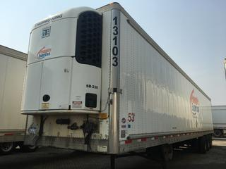2013 Utility 53' Triaxle Refrigerated Van Trailer c/w Thermo King Reefer, Air Ride, Sliding Axle, Unit # 13103, VIN 1UYVS3535DU608004, Reefer S/N 600115665.