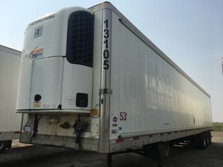 2013 Utility 53' Triaxle Refrigerated Van Trailer c/w Thermo King Reefer, Air Ride, Sliding Axle, Unit # 13105, VIN 1UYVS3535DU608018.