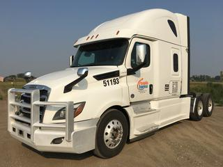 """2019 Freightliner New Cascadia T/A Truck Tractor c/w Detroit DD15 14.8L Engine, Detroit Auto Transmission, Air Brakes, Front Axle Rating 13,200 Lbs, Rear Axle Rating 40,000 Lbs, 126"""" Sleeper Cab,  Showing 873,713 KMS, Unit # 51193, VIN 3AKJHHDR2KSJX9340."""