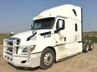 """2019 Freightliner New Cascadia T/A Truck Tractor c/w Detroit DD15 14.8L Engine, Detroit Auto Transmission, Air Brakes, Front Axle Rating 13,200 Lbs, Rear Axle Rating 40,000 Lbs, 126"""" Sleeper Cab, Showing 1,006,017 KMS, Unit # 51183, VIN 3AKJHHDR1KSJX9328."""
