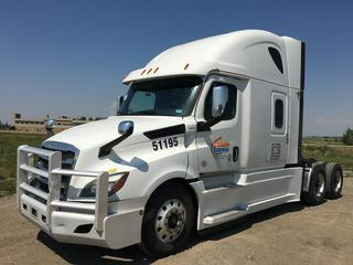 """2019 Freightliner New Cascadia T/A Truck Tractor c/w Detroit DD15 14.8L Engine, Detroit Auto Transmission, Air Brakes, Front Axle Rating 13,200 Lbs, Rear Axle Rating 40,000 Lbs, 126"""" Sleeper Cab, Showing 935,674 KMS, Unit # 51195, VIN 3AKJHHDR8KSJX9343."""