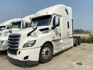 """2019 Freightliner New Cascadia T/A Truck Tractor c/w Detroit DD15 14.8L Engine, Detroit Auto Transmission, Air Brakes, Front Axle Rating 13,200 Lbs, Rear Axle Rating 40,000 Lbs, 126"""" Sleeper Cab, Showing 1,002,999 KMS, Unit # 51200, VIN 3AKJHHDR9KSJX9352."""