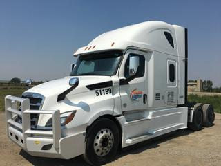 """2019 Freightliner New Cascadia T/A Truck Tractor c/w Detroit DD15 14.8L Engine, Detroit Auto Transmission, Air Brakes, Front Axle Rating 13,200 Lbs, Rear Axle Rating 40,000 Lbs, 126"""" Sleeper Cab, Showing 1,018,793 KMS, Unit # 51199, VIN 3AKJHHDR5KSJX9350."""
