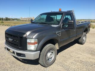 2009 Ford F350 Super Duty XL 4x4 P/U c/w Triton 6.8L V10 Gas, Auto, A/C, Spray On Box Liner, Amber Beacon Light, Showing 75,961 Kms, VIN 1FTWF31Y59EA65408