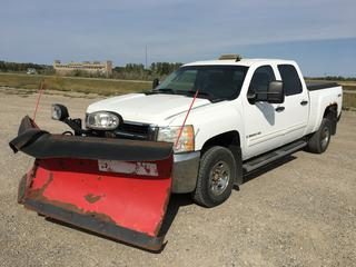"""2009 Chev Silverado 2500HD Crew Cab 4x4 P/U c/w Vortec 6.0L V8 Gas, Auto, A/C, Heated Seats, The Box Snow Plow Controller In Cab, Spray On Box Liner, Tow Hitch Receiver, Amber Beacon Light, 9'2"""" Plow S/N CB024561, Roll Up Box Cover, Showing 127,234 Kms, VIN 1GCHK43K59F114345"""