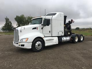 2011 Kenworth T660 Crane Truck c/w C13 12.0L, Eaton Fuller 13 Spd, PM 14E Crane S/N GA880036 w/Remote, DPF Deleted, Showing 795,763 Kms. 295/80R22.5 Front, 11R22.5 Rear Tires, VIN 1XKADU9X6BJ947464. Note:  Out of Province Vehicle. Crane Remote In Office.