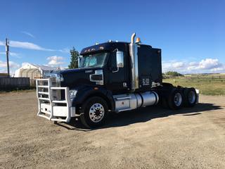 2013 Freightliner Coronado T/A Truck Tractor c/w DD15 14.8L, Eaton Fuller 18 Spd, 13,200 LB Front, 46,000 LB Rear Axles, Air Ride Susp., Beacon Amber Light, 11R24.5 Tires. Showing 838,925 KMs, VIN 1FUJGNDR9DDFD6151.
