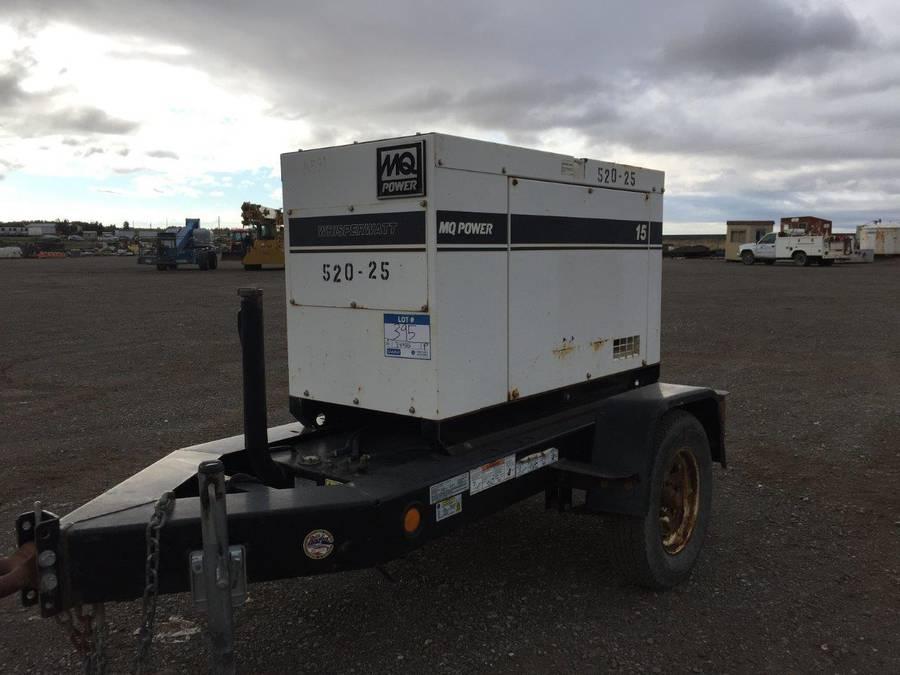 MQ Power Whisperwatt Portable Generator c/w Kubota 3 Cyl Diesel, ST175/80D13 Tires, Showing 3323 Hours, VIN 4GNBM0913DB034782