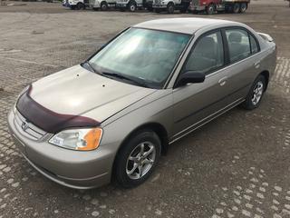 2003 Honda Civic DX 4 Door Sedan c/w 4 Cyl, Auto, A/C, Showing 364,811 Kms, VIN 2HGES16453H920773