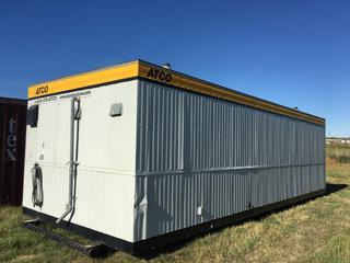 2001 Weldwood 12'x32' Skid Mounted Washroom Trailer c/w Mens & Womens (2) Entrances, 120/240 V, 60 HZ, Single Phase, 40 Amps, (5) Urinals, (7) Toilet Stalls, (6) Sinks, (2) Large Water Storage Tanks, Furnace, Hot Water Tank, Fans, Lights & Pressure Pump, S/N 23201 6154.