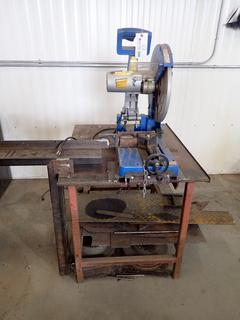 Powerfist 14in Dry Cut Metal Saw C/w 36in X 30in X 36in Steel Work Top And 4ft Steel Extension Arm