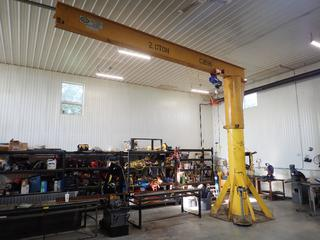 WF Welding And Crane 14ft 2.0-Ton Jib Crane C/w Approx. 20ft Arm Length, 188in Max Height And Powerfist Electric Cable Hoist. SN C2696 *Note: Hoist Switch Requires Repair, Buyer Responsible For Dismantle And Load Out, Item Cannot Be Removed Until August 18th Unless Mutually Agreed Upon*