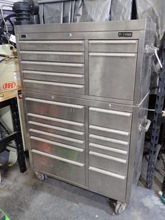 41in X 17 1/2in X 54in Nusteel 2-Section 19-Drawer Portable Tool Chest C/w Contents