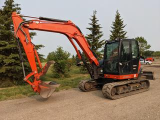 2016 Kubota KX080-4 Super Series Power Utility Excavator C/w V3307-CR-T Diesel Engine, Cab, Hyd Thumb, 86in Blade And Kubota 46in Clean Up Bucket w/ 18in Grapple. Showing 808hrs. SN JKUK0804HG1H40674